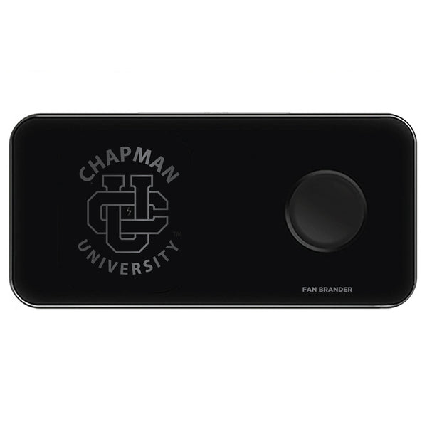 Fan Brander 3 in 1 Glass Wireless Charger with Chapman Univ Panthers laser etched Primary Logo