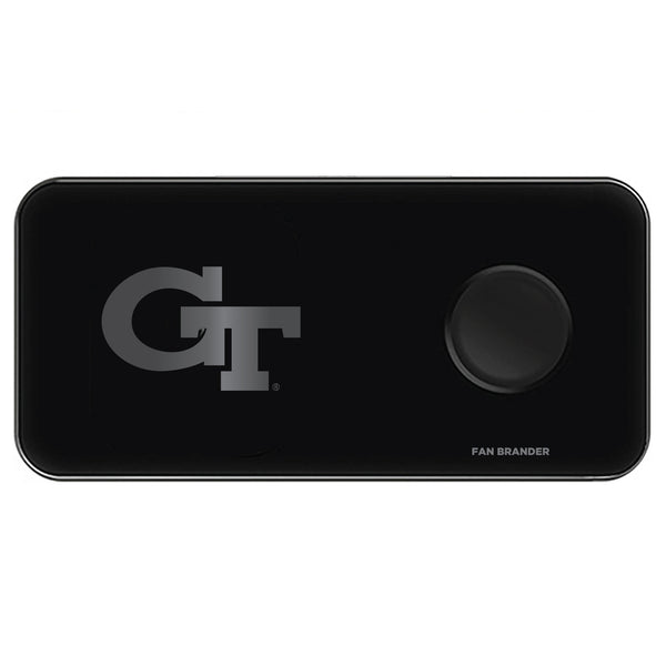 Fan Brander 3 in 1 Glass Wireless Charger with Georgia Tech Yellow Jackets laser etched Primary Logo