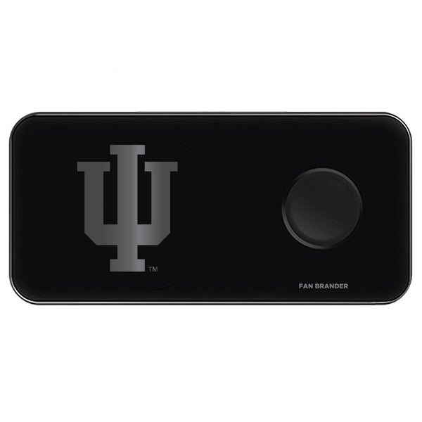 Fan Brander 3 in 1 Glass Wireless Charger with Indiana Hoosiers laser etched Primary Logo