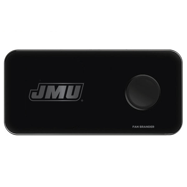 Fan Brander 3 in 1 Glass Wireless Charger with James Madison Dukes laser etched Primary Logo