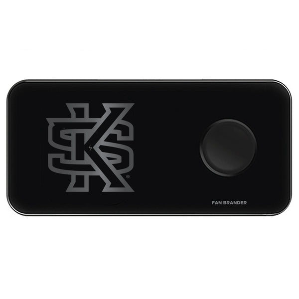 Fan Brander 3 in 1 Glass Wireless Charger with Kennesaw State Owls laser etched Primary Logo