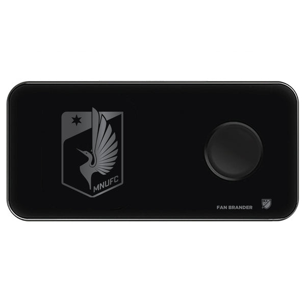 Fan Brander 3 in 1 Glass Wireless Charger with Minnesota United FC laser etched Primary Logo