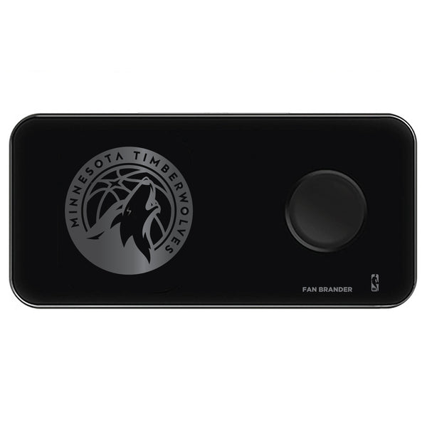 Fan Brander 3 in 1 Glass Wireless Charger with Minnesota Timberwolves laser etched Primary Logo