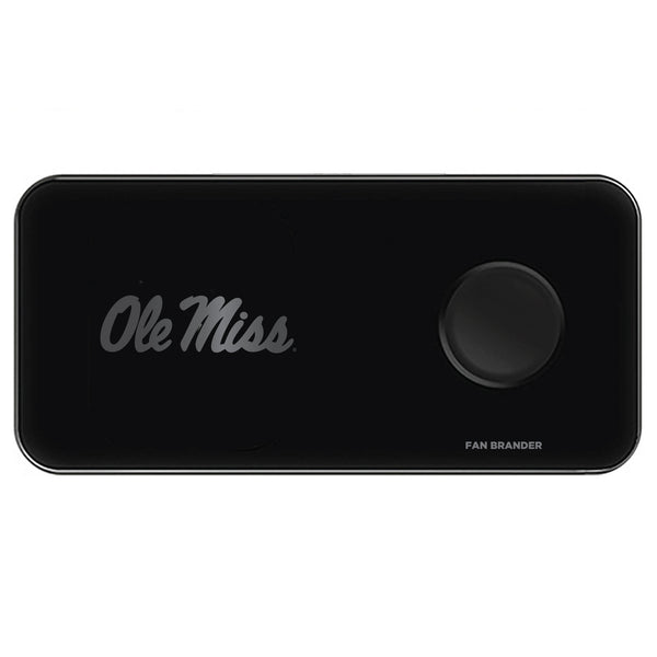 Fan Brander 3 in 1 Glass Wireless Charger with Mississippi Ole Miss laser etched Primary Logo