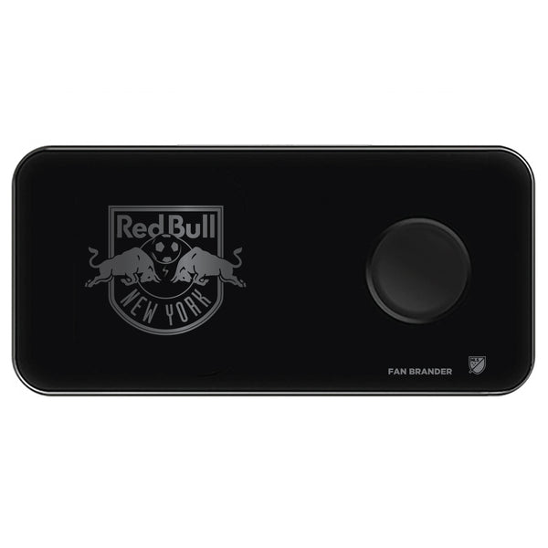 Fan Brander 3 in 1 Glass Wireless Charger with New York Red Bulls laser etched Primary Logo