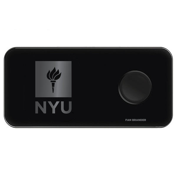 Fan Brander 3 in 1 Glass Wireless Charger with NYU laser etched Primary Logo
