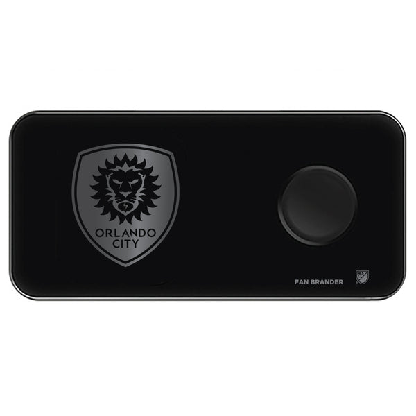 Fan Brander 3 in 1 Glass Wireless Charger with Orlando City SC laser etched Primary Logo