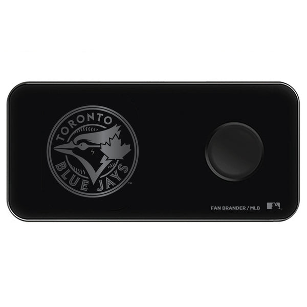 Fan Brander 3 in 1 Glass Wireless Charger with Toronto Blue Jays laser etched Primary Logo