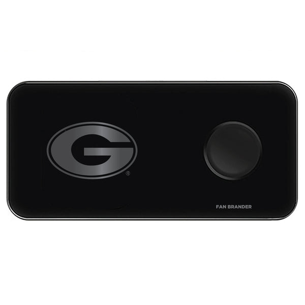 Fan Brander 3 in 1 Glass Wireless Charger with Georgia Bulldogs laser etched Primary Logo