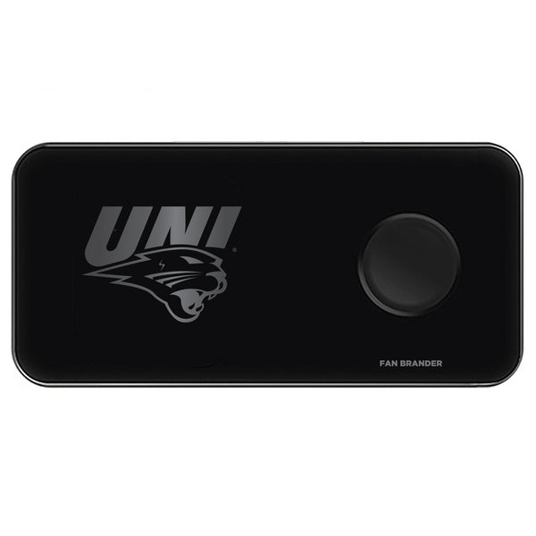 Fan Brander 3 in 1 Glass Wireless Charger with Northern Iowa Panthers laser etched Primary Logo