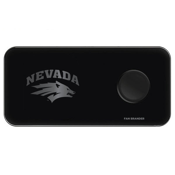 Fan Brander 3 in 1 Glass Wireless Charger with Nevada Wolf Pack laser etched Primary Logo