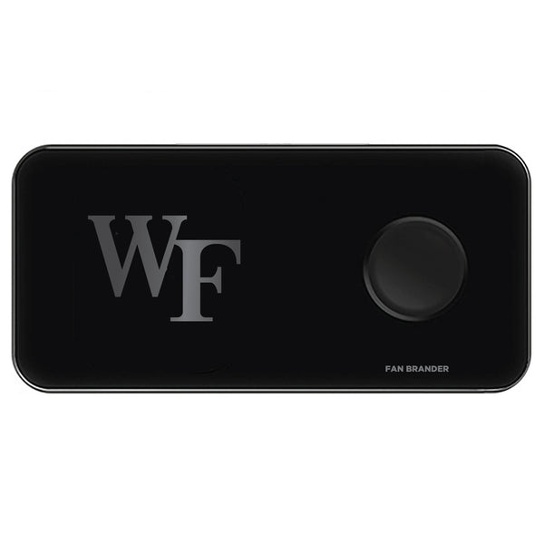 Fan Brander 3 in 1 Glass Wireless Charger with Wake Forest Demon Deacons laser etched Primary Logo