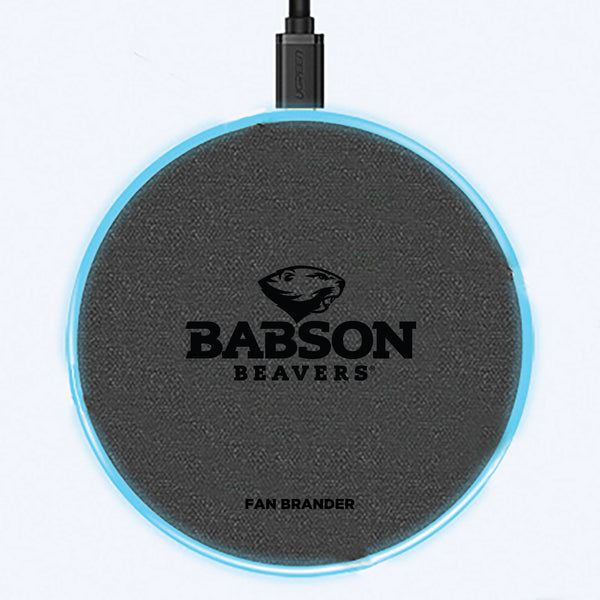 Fan Brander Grey 15W Wireless Charger with Babson University laser etched Primary Logo