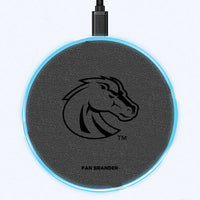 Fan Brander Grey 15W Wireless Charger with Boise State Broncos laser etched Primary Logo