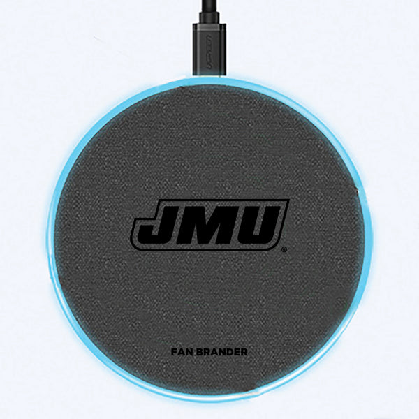 Fan Brander Grey 15W Wireless Charger with James Madison Dukes laser etched Primary Logo