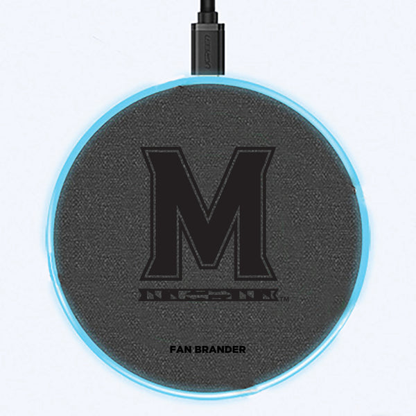 Fan Brander Grey 15W Wireless Charger with Maryland Terrapins laser etched Primary Logo