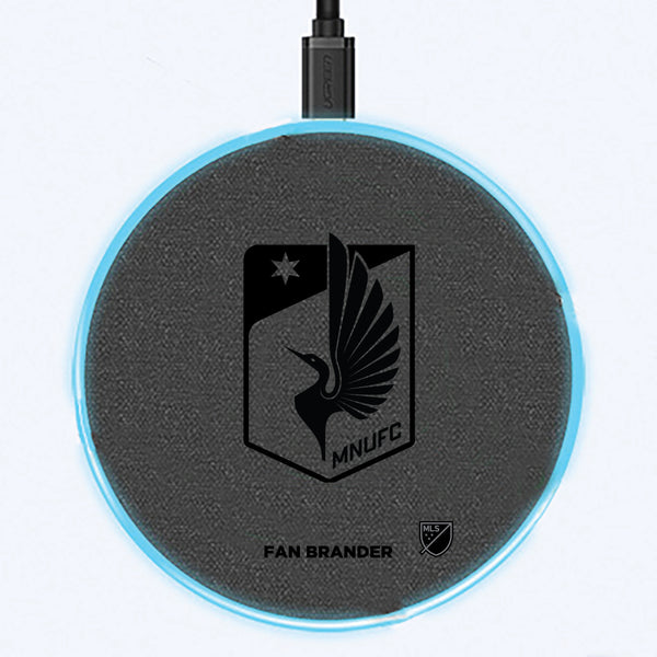 Fan Brander Grey 15W Wireless Charger with Minnesota United FC laser etched Primary Logo