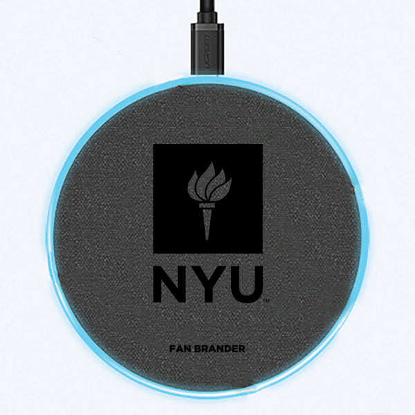 Fan Brander Grey 15W Wireless Charger with NYU laser etched Primary Logo