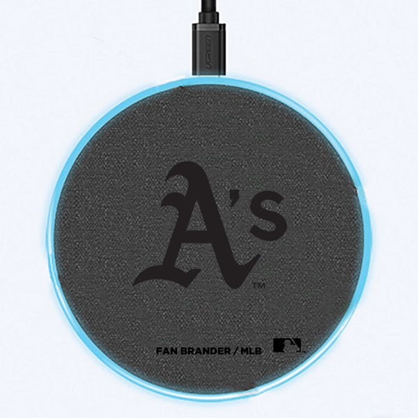 Fan Brander Grey 15W Wireless Charger with Oakland Athletics laser etched Primary Logo