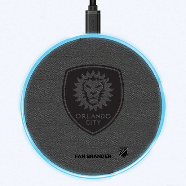 Fan Brander Grey 15W Wireless Charger with Orlando City SC laser etched Primary Logo