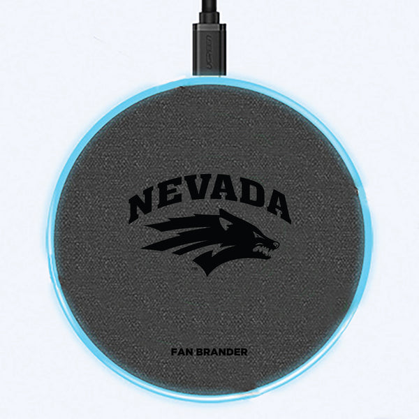Fan Brander Grey 15W Wireless Charger with Nevada Wolf Pack laser etched Primary Logo