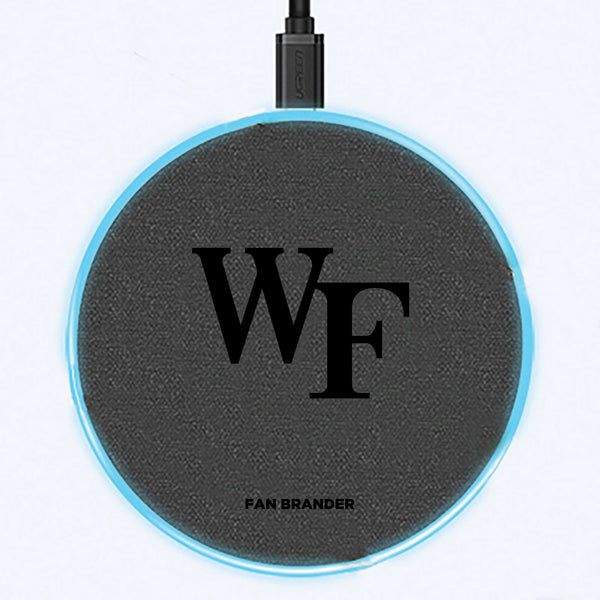 Fan Brander Grey 15W Wireless Charger with Wake Forest Demon Deacons laser etched Primary Logo