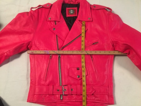Leather Moto Jacket Red Balls NO Logo Hot Pink