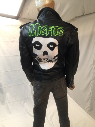 Moto Jacket Misfits Logo Black Denim