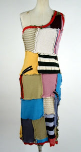One Shoulder Dress Patchwork - Multi Color