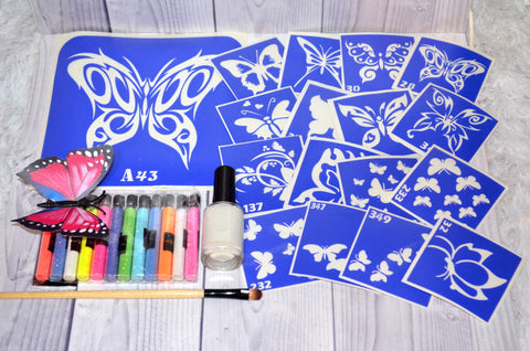 buy temporary tattoo stencils Kit #4 Butterflies