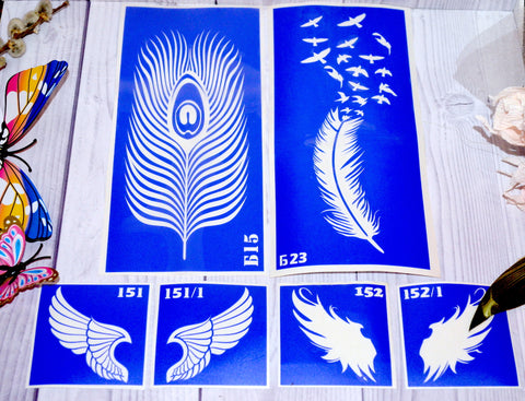 buy temporary tattoo stencils Kit #34 Wings and feathers