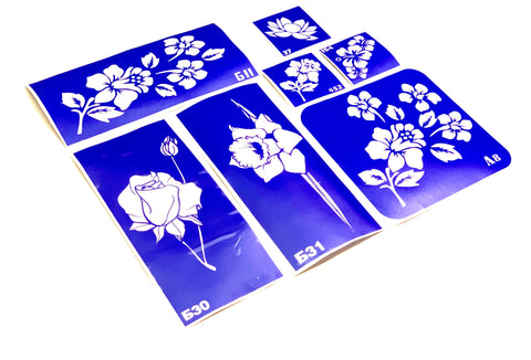 buy temporary tattoo stencils Kit #24 Flowers - 3