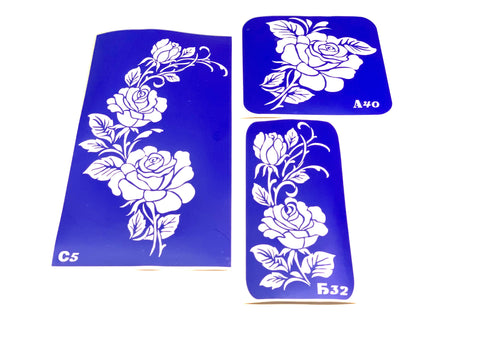 buy temporary tattoo stencils Kit #37 Roses - 2