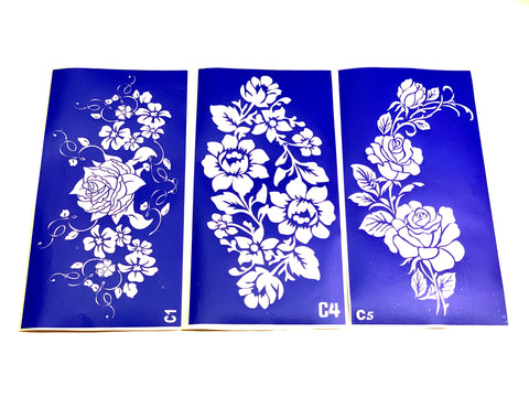 buy temporary tattoo stencils Kit #27 Large Flowers