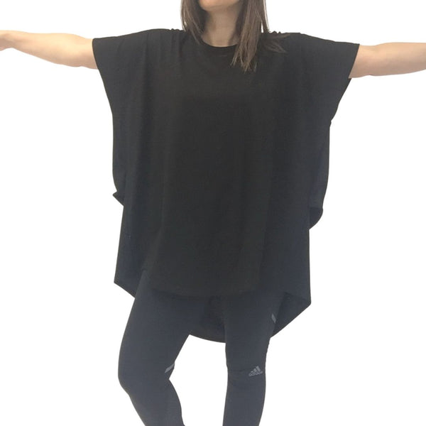 folded drape tee black