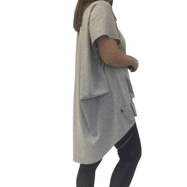 folded drape tee grey marle