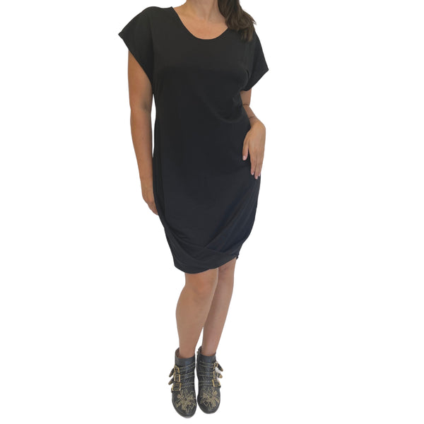 origami dress black viscose cotton knit