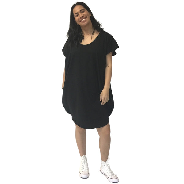 reversible circular tunic black