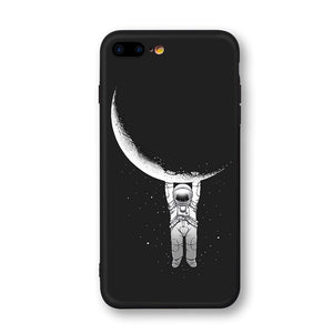 Space Moon Astronaut Phone Cases For iPhone 6, 7, 8, X