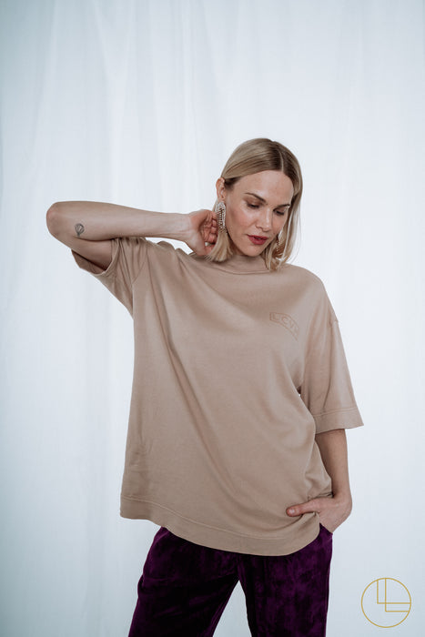 OVERSIZED LCVH SHIRT WITH STAND-UP COLLAR beige