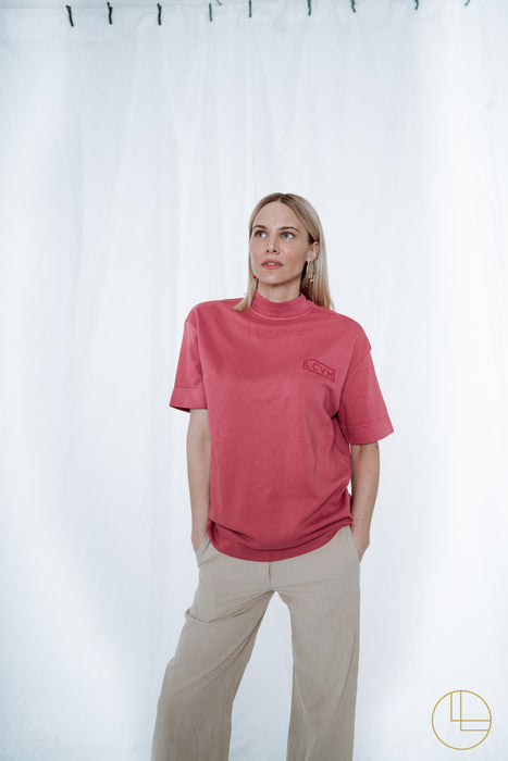 OVERSIZED LCVH SHIRT WITH STAND-UP COLLAR mauve