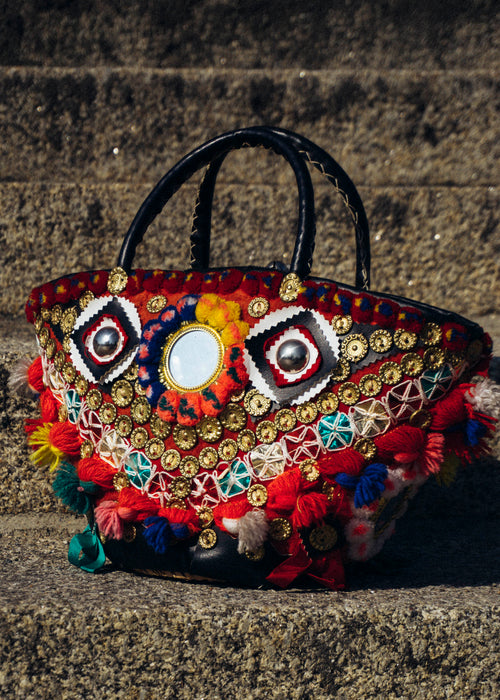 Vintage Ethnic Basket Bag