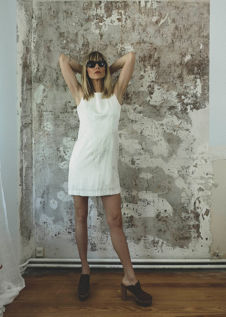 White 70s Mini Dress