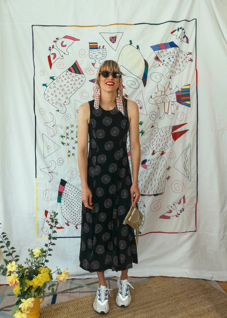 Vintage Sleeveless 3/4 Circular Print Dress