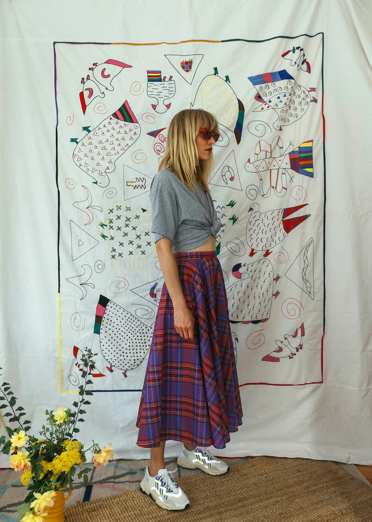 Vintage Checkered Saucer Skirt