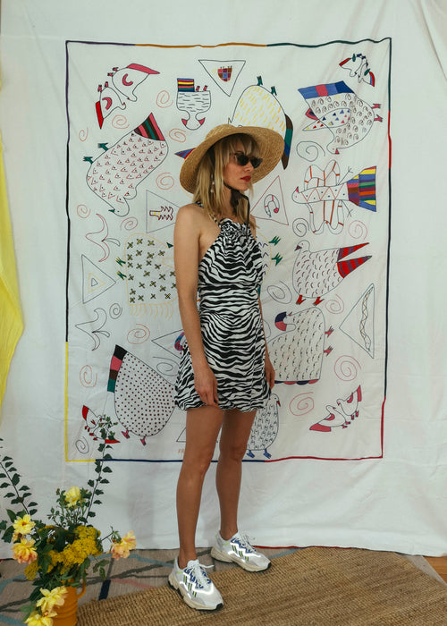 Vintage Silk Zebra Mini Dress