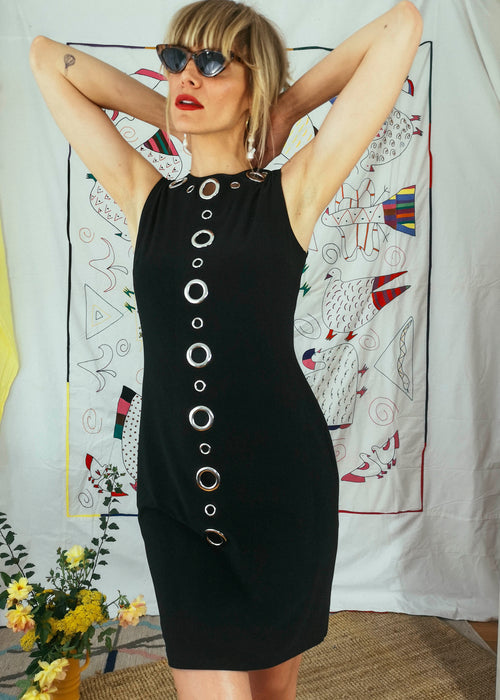 Vintage 80s LBD with Circular Cutout Details