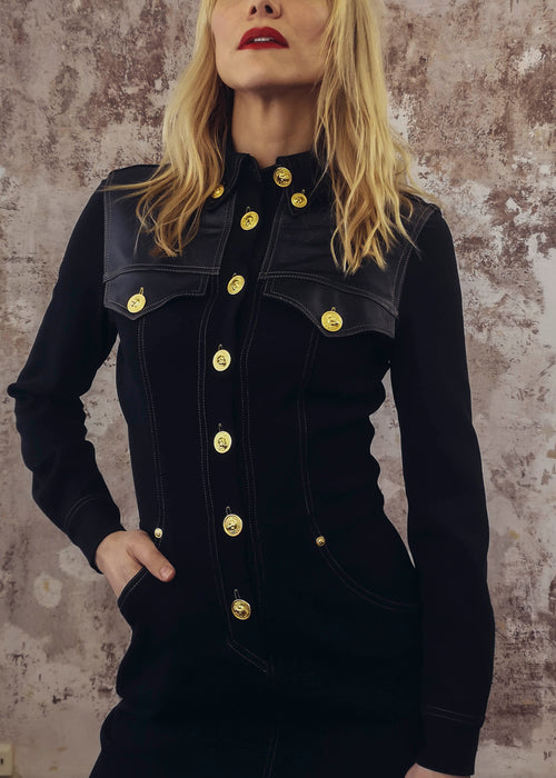 Vintage Rare Versace Western Black Dress