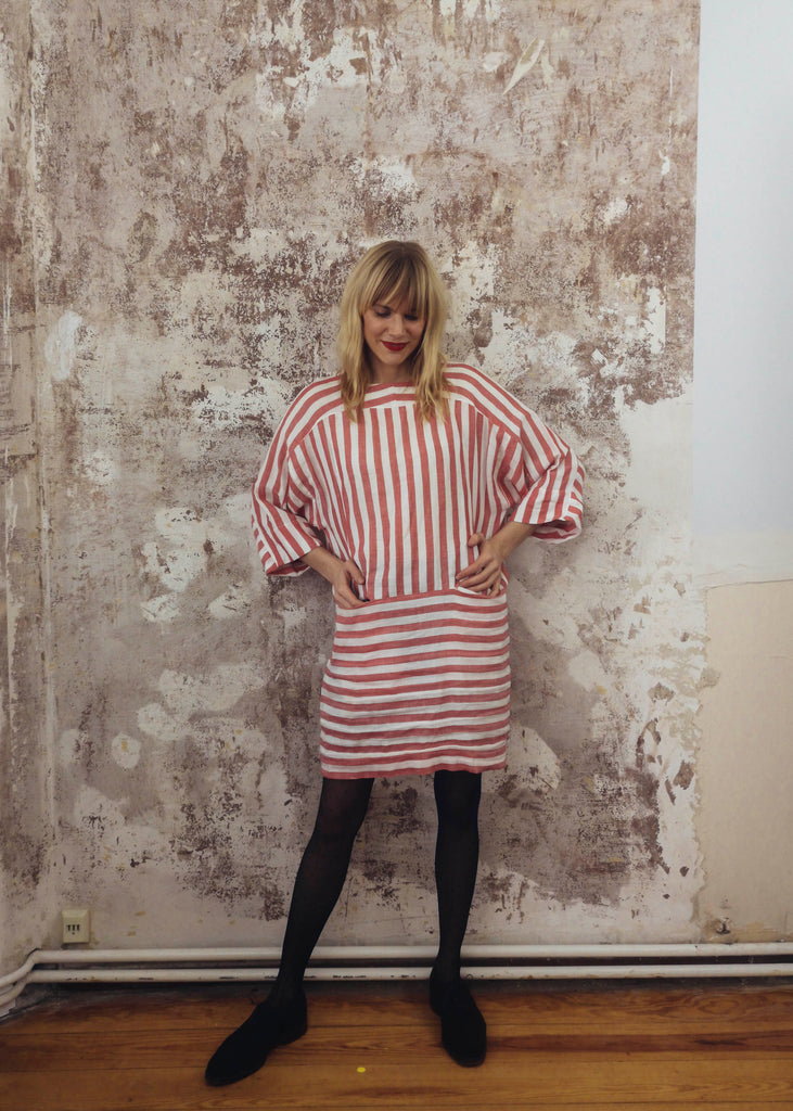 Vintage Red & White Contrasting Stripe Dress