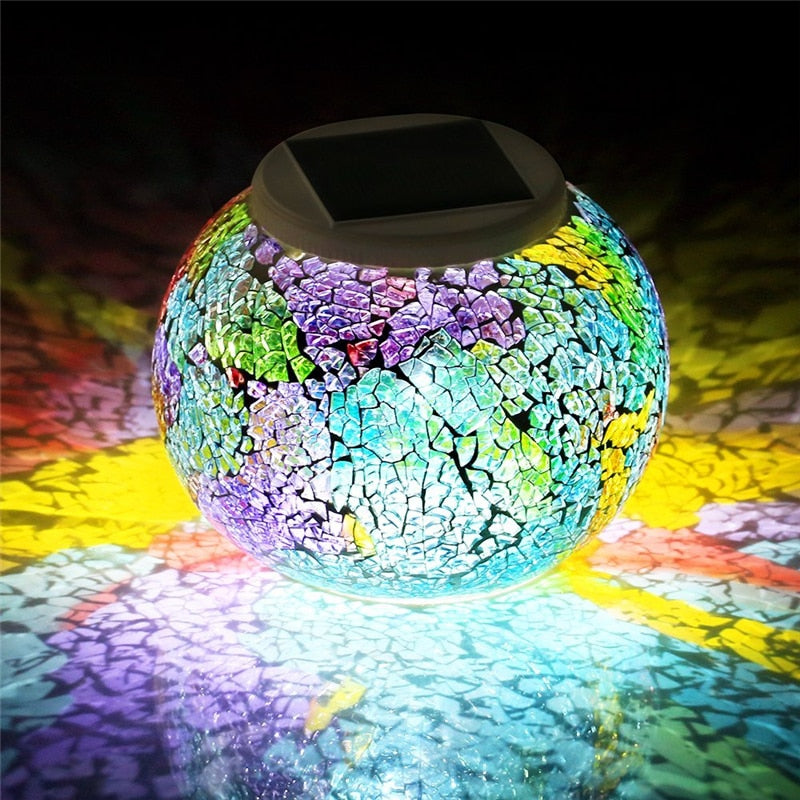 Color Changing Solar Powered Glass Garden Light